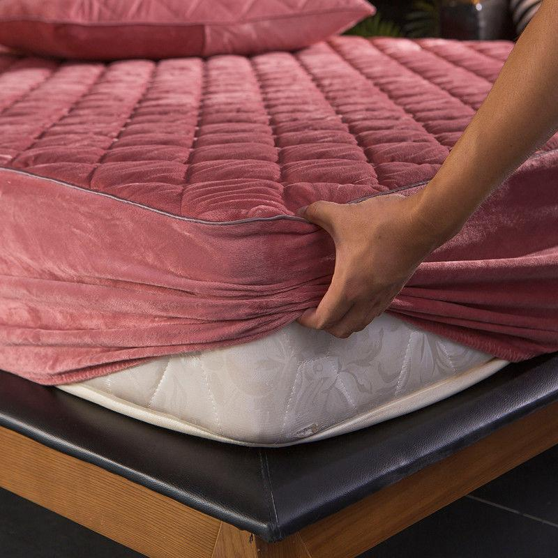 Crystal Velvet Thicken Quilted Mattress Cover