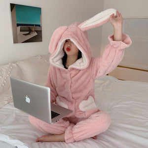 Two Pieces Rabbit Warm Home Wear
