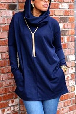 Fashion Casual Hooded Dark Blue Long Sleeve Sweater (With Pockets)