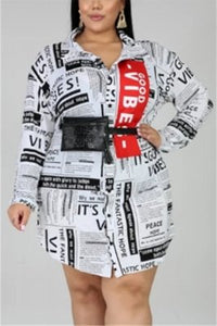 Fashion Casual Newspaper Print White Long Sleeve Shirt Dress