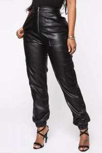 Fashion Casual High Waist Black Trousers