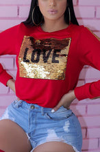 Load image into Gallery viewer, Fashion Love Sequin Patchwork Long Sleeve T-Shirt