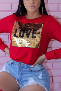 Fashion Love Sequin Patchwork Long Sleeve T-Shirt