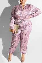 Load image into Gallery viewer, Fashion Casual Leopard Satin Zipper Jumpsuit