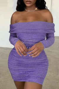 Fashion Sexy Off Shoulder Purple Long Sleeve Dress