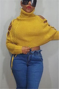 Fashion Pile Collar Strapless Loose Yellow Sweater