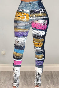 Fashion Casual Digital Print Denim Trousers