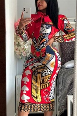 Fashion Sexy Long Sleeve Queen Print Red Dress