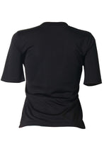 Load image into Gallery viewer, Fashion Casual Round Neck Letter Printed Black Polyester T-shirt