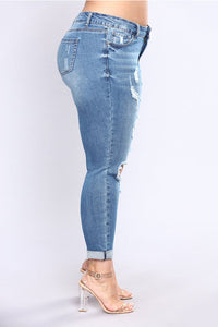 Fashion Casual Hollow-out Skinny Blue Plus Size Jeans