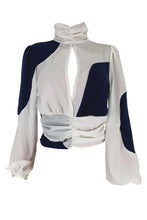 Load image into Gallery viewer, Fashion Patchwork White Blouse