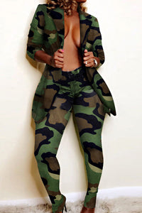 Fashion Turn-back Collar Camouflage Printed Two-piece Pants Set