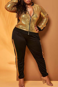 Fashion Sequined Gold Plus Size Two-piece Pants Set