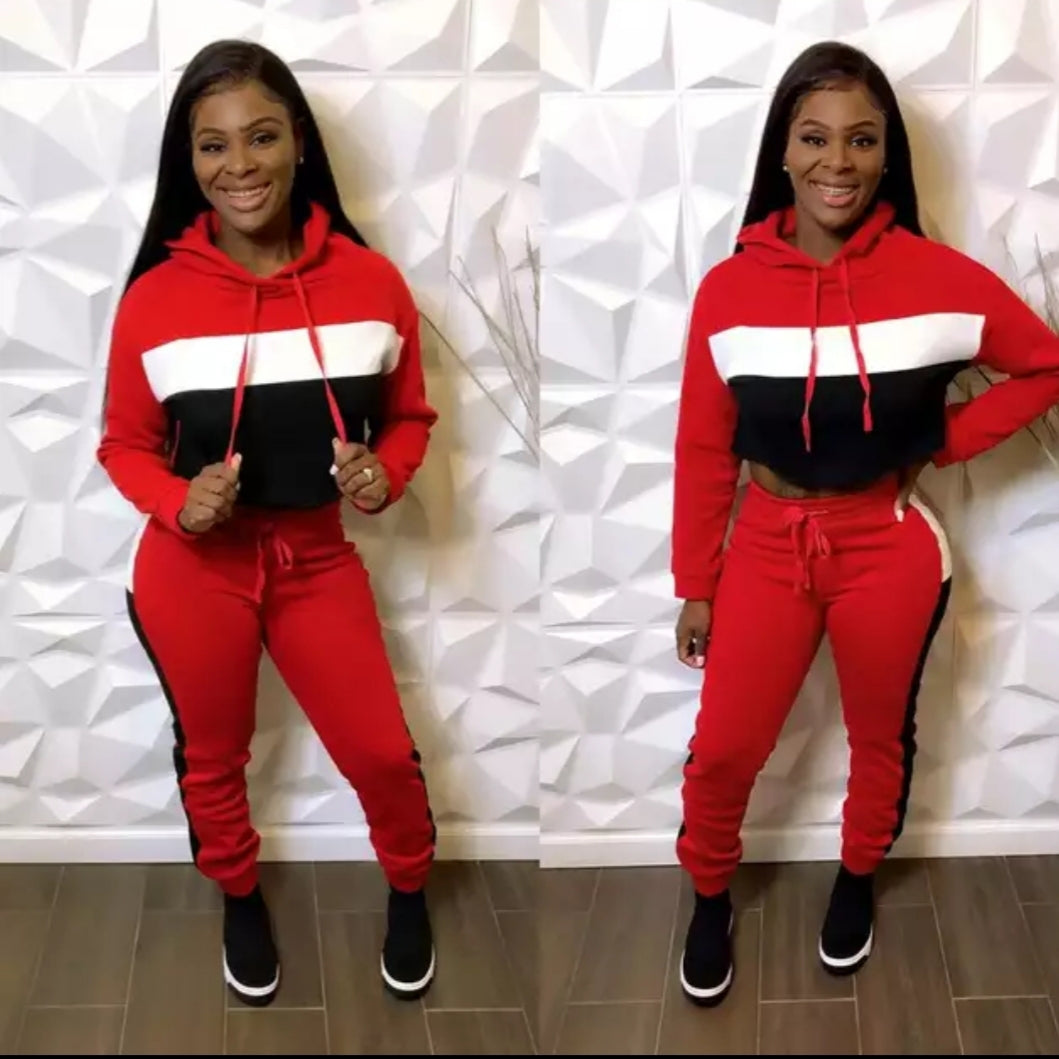 Fashion Sexy Red Pullover Cro Top Sweatsuit