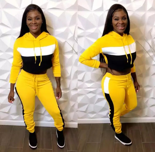Fashion Sexy Yellow Pullover Cro Top Sweatsuit