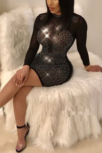 Sexy Mesh With Diamond Turndown Collar Long Sleeves Dress