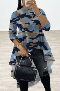 Fashion Camouflage Printing Stitching T-shirt Top