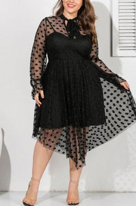 Sexy Mesh Openwork Perspective Black Dress