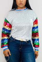 Load image into Gallery viewer, Fashion Sequined Multicolor Long Sleeve Top