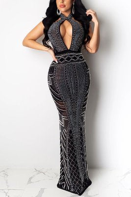 Sexy Irregular Hot Diamond Black Mesh Dress