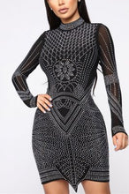 Load image into Gallery viewer, Sexy Mesh Perspective Hot Diamond Dress