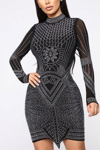 Sexy Mesh Perspective Hot Diamond Dress