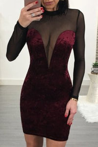 Sexy Fashion Mesh Stitching Wine Red Dress
