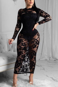 Sexy Lace Long Dress Underwear Two-piece Set