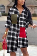 Load image into Gallery viewer, Fashion Plaid Printed Shirt Dress