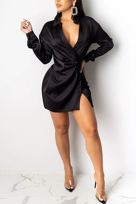 Sexy Solid Color V-neck Split Long Sleeve Black Dress