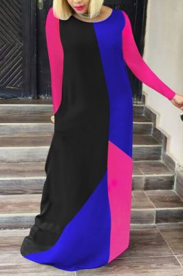 Fashion Stitching Round Neck Multicolor Long Dress