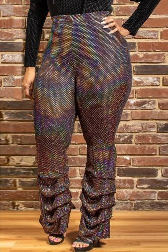 Fashion Plus Size Multicolor Casual Pants