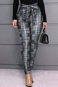 Stylish Casual Printing Gray Skinny Trousers