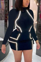 Load image into Gallery viewer, Fashion Sexy Reflective Patchwork Long Sleeve Skirt Suit