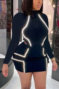Fashion Sexy Reflective Patchwork Long Sleeve Skirt Suit