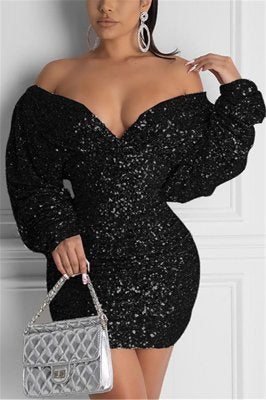 Fashion Sexy V Neck Silver Sequin Long Sleeve Dress