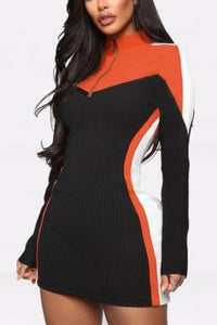 Fashion Casual Long Sleeve Orange Zip Dress