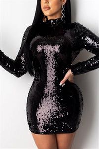 Fashion Sexy Sequined Long Sleeve Dress