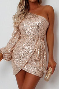 Sexy Single Sleeve Sequined Champagne Dress