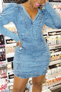 Fashion Sexy V-Neck Denim Blue Long Sleeve Dress