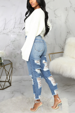 Load image into Gallery viewer, Fashion Hand-Broken Blue Jeans