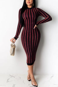 Fashion Stripe Round Neck Long Sleeve Dress