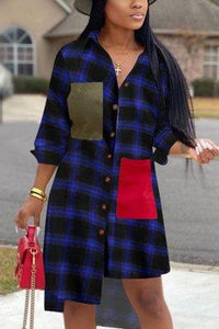 Fashion Plaid Printed Shirt Dress
