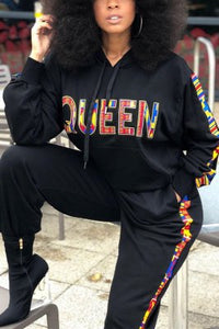 Stylish Casual Queen Hooded Black Two-Piece Set