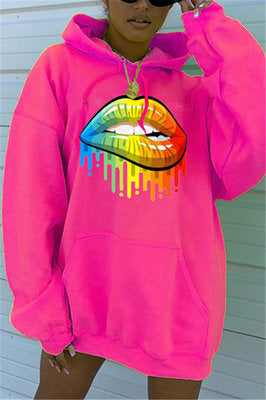 Fashion Hooded Positioning Lip Print Headband Loose Sweater