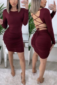 Sexy Fashion Round Neck Long Sleeve Wine Red Dress