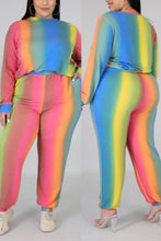 Load image into Gallery viewer, Fashion Casual Rainbow Printing Multicolor Two-Piece Set