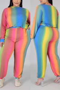Fashion Casual Rainbow Printing Multicolor Two-Piece Set