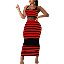 Load image into Gallery viewer, Fashion Stripped Peak A Boo Maxi Dress