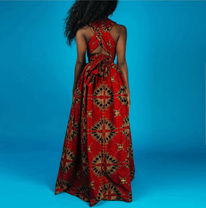 Fashion Cross Back Red Printed Dress